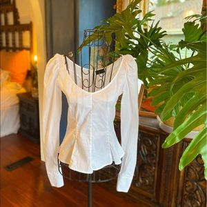 Carbon38 White Peplum Puff Shoulder Corset Blouse